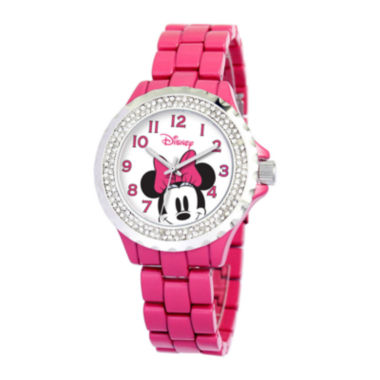 jcpenney.com | Disney Minnie Mouse Womens Pink Enamel Watch with Crystals