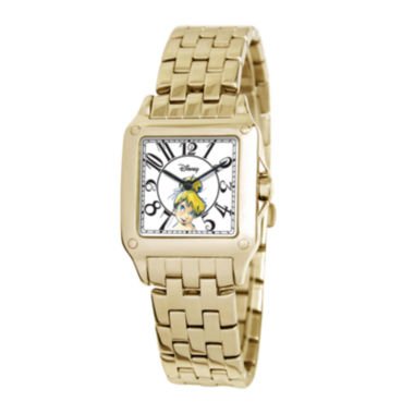 jcpenney.com | Disney Perfect Square Tinker Bell Womens Gold-Tone Watch