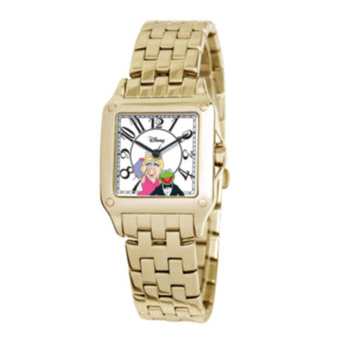 jcpenney.com | Disney Perfect Square Muppets Womens Gold-Tone Watch