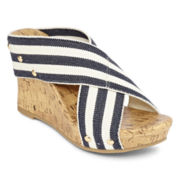a.n.a® Striped Lexi Wedge Sandals