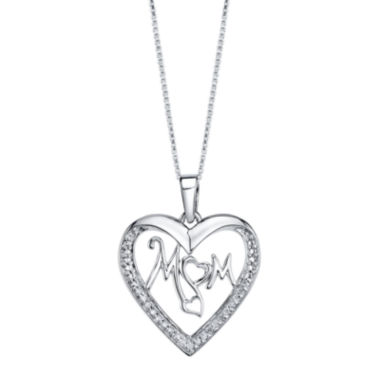 jcpenney.com | Love Grows™ 1/10 CT. T.W. Diamond Sterling Silver Mom Pendant Necklace