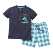 Carter's® 2-pc. Henley and Plaid Short Set - Boys newborn-24m