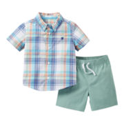 Carter's® 2-pc. Short-Sleeve Plaid Shirt and Short Set - Boys newborn-24m