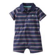 Carter's® Navy Striped Romper - Boys nb-24m