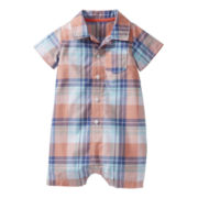 Carter's® Plaid Button-Front Romper - Boys nb-24m