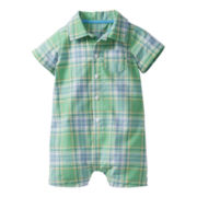 Carter's® Green Plaid Button-Front Romper - Boys nb-24m
