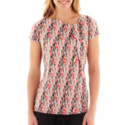Liz Claiborne Short-Sleeve Print Foldover Knit Top