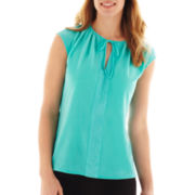 Worthington® Cap-Sleeve Mesh Tie-Neck Top