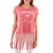 Self Esteem® Short-Sleeve Fringe Graphic Tee