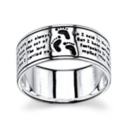 Footnotes® Sterling Silver Footprints Band Ring