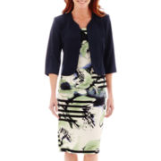 Dana Kay Striped Floral Jacket Dress