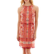 London Style Collection Scarf Print Blouson Halter Dress