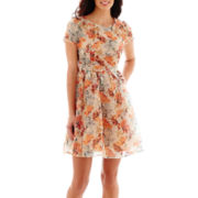 Danny & Nicole® Short-Sleeve Floral Print Burnout Organza Fit-and-Flare Dress