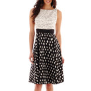 Danny & Nicole® Sleeveless Twin Dot Print Fit-and-Flare Dress