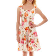 London Style Collection Sleeveless Floral Print Sateen Fit-and-Flare Dress