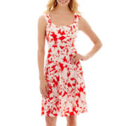 London Style Collection Floral Print Fit-and-Flare Dress