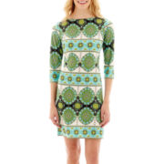 London Style Collection Long-Sleeve Medallion Print Shift Dress
