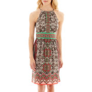 London Style Collection Border Print Keyhole Dress