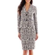 Le Suit® Print Jacquard Jacket and Skirt Set