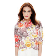 Joe Fresh™ Long-Sleeve Print Boyfriend Blouse