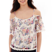 Self Esteem® Short-Sleeve Lace Cold-Shoulder Top