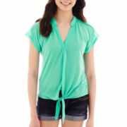 Almost Famous Short-Sleeve Lace-Yoke Tie-Front Top