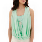 by&by Sleeveless Drape Necklace Top