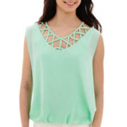 by&by Sleeveless Lattice-Neck Bubble-Hem Top