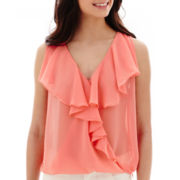 by&by Sleeveless Woven Ruffle Top