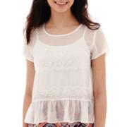 Olsenboye® Short-Sleeve Chiffon Peplum Top