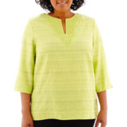 Alfred Dunner® Morocco 3/4-Sleeve Solid Lace-Trim Texured Top - Plus