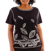 Alfred Dunner® Morocco Short-Sleeve Leaf Border Knit Top - Plus