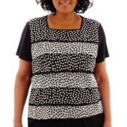 Alfred Dunner® Morocco Short-Sleeve Dot Tiered Ruffle Top - Plus