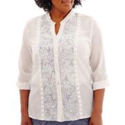 Alfred Dunner® St. Maarten 3/4-Sleeve Embroidered Pintuck Shirt - Plus