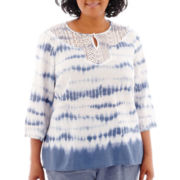 Alfred Dunner® St. Maarten 3/4-Sleeve Tie-Dye Lace-Trim Blouse - Plus