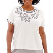 Alfred Dunner® St. Maarten Short-Sleeve Flower Pinstripe Appliqué Top - Plus