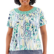 Alfred Dunner® St. Maarten Short-Sleeve Ikat Tropical Lace-Neck Top - Plus