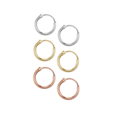 jcpenney.com | Silver Reflections™ 3-pc. Tri-Colored Sterling Silver Hoop Earring Set