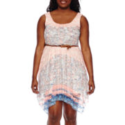 Love Reigns Sleeveless Print Lace Sharkbite Dress - Juniors Plus