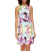 Worthington® Sleeveless Floral Print Fit-and-Flare Dress