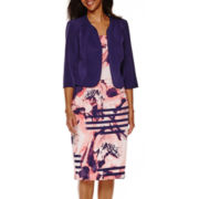 Maya Brooke Striped Floral Print Jacket Dress