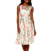 Danny & Nicole® Sleeveless Floral Burnout A-Line Dress