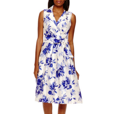 jcpenney.com | Jessica Howard Sleeveless Floral Shantung Shirtdress