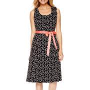 Robbie Bee® Sleeveless Dot Print A-Line Dress