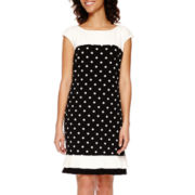 Studio 1® Colorblock Dot Shift Dress with Ruffle Hem