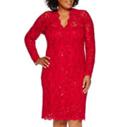 Blu Sage Long-Sleeve Lace Sequin Sheath Dress - Plus