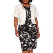 Maya Brooke Short-Sleeve Beaded-Neck Jacket Dress - Plus