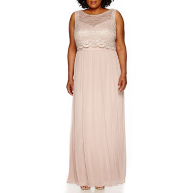 jcpenney.com | R&M Richards Sleeveless Stretch Lace Popover Long Dress - Plus