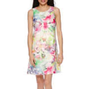 DR Collection Sleeveless Floral Sheath Dress - Petite