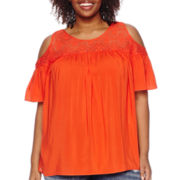 Stylus™ Lace Yoke Cold-Shoulder Top